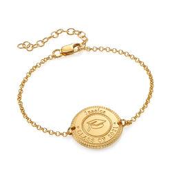 Graduation Cap Personalized Bracelet in Gold Vermeil product photo