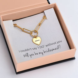 Please Be My Bridesmaid - Link Bracelet With Engraved Heart Pendant in 18K Gold Plating product photo