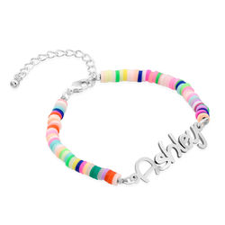 Rainbow Bead Girls Name Bracelet in Sterling Silver product photo