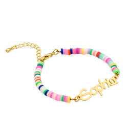 Rainbow Bead Girls Name Bracelet in Gold Plating product photo