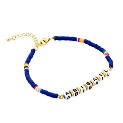 Blue Kids Custom Beaded Name Bracelet in Gold Plating product photo