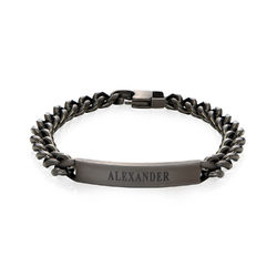 Men's Curb Chain ID Bracelet in Sterling Silver Oxide product photo