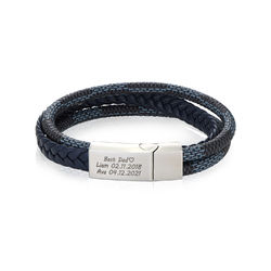 Men's 3-Layer Blue & Grey Braided Leather Bracelet in Silver product photo