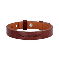 Men's Total Brown Leather Name Bracelet product photo