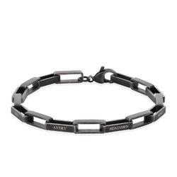 Custom Square Link Men Bracelet in Silver Oxide product photo
