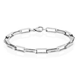 Custom Square Link Men Bracelet in Matte Silver product photo