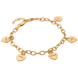 Mother's Personalized Heart Charm Bracelet in Gold Plated product photo