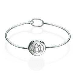 Round Monogram Bangle Bracelet in Silver product photo