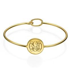 Gold Plated Round Monogram Bangle Bracelet product photo