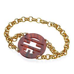 18k Gold Plated Bracelet with Acrylic Monogram product photo