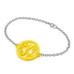Acrylic Monogram Bracelet - Silver Chain product photo