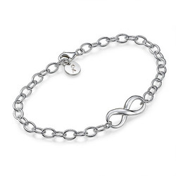 Sterling Silver Infinity Initial Bracelet product photo