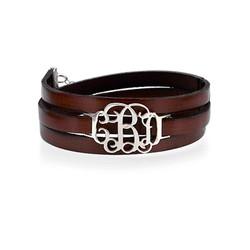 Leather Wrap Bracelet - Monogram product photo