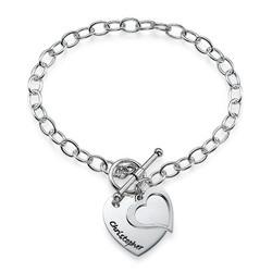 Silver Double Heart Charm Bracelet product photo