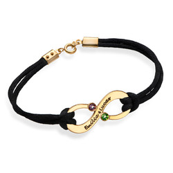 Couples Infinity Bracelet with Birthstones - 18K Gold Plating product photo