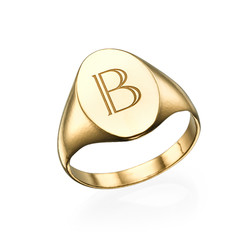 Initial Signet Ring - 18k Gold Plated product photo