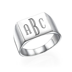 Monogrammed Signet Ring in Silver product photo