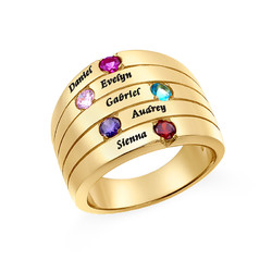 Five Stone Mothers Ring with Gold Plating - Large Size product photo