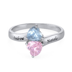 Personalized Birthstone Ring in Silver product photo
