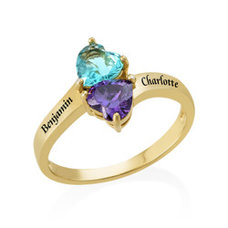 Personalized Birthstone Ring with Gold Plating product photo