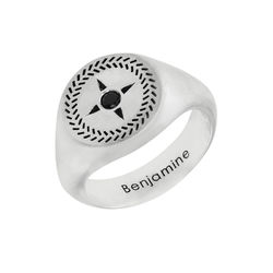 Personalized Compass Round Signet Ring in Silver for Men product photo