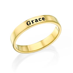 Engraved Thin Band Ring in Gold Plating product photo