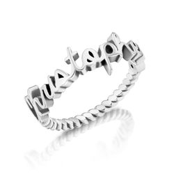 Personalized Birthstone Name Ring with Rope Band in Sterling Silver product photo
