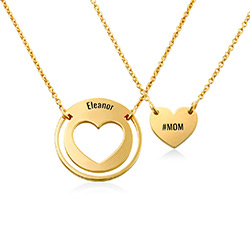 Mother Daughter Heart Necklace Set in 18K Gold Plating product photo