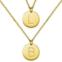 Two Gold Plated Charm Necklaces with Initials product photo