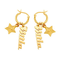 Siena Drop Name Earrings in 18k Gold Plating product photo