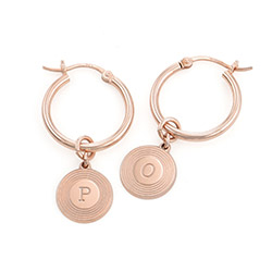 Odeion Initial Earrings in 18K Rose Gold Plating product photo