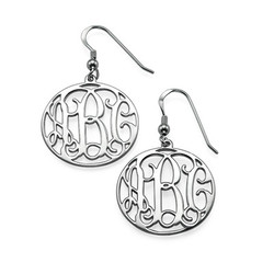 Sterling Silver Monogram Earrings Set product photo