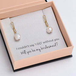 Here Comes the Bridesmaid - Link Earrings With Baroque Pearl in 18k Gold Plating product photo