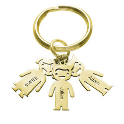 Personalized Keychain with Children Charms in Gold Plating product photo