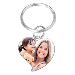Engraved Photo Keychain - Heart Shaped product photo