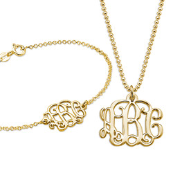 Mix and Match Gold Plated Monogram Necklace and Bracelet Set product photo