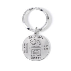 Personalized Engraved Baby Birth Keychain in Sterling Silver product photo