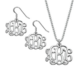 Mix and Match Small Monogram Necklace and Earrings Set product photo