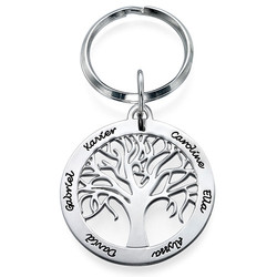 Personalized Family Tree Keychain in Sterling Silver product photo