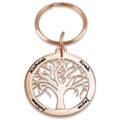Personalized Family Tree Keychain in Rose Gold Plating product photo