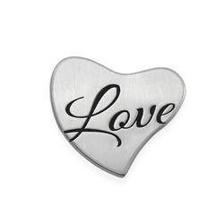 Floating Locket Plate - Silver Heart with Engraving product photo