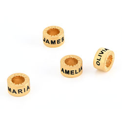Custom Engraved Beads in 18K Gold Vermeil for Linda Necklace product photo
