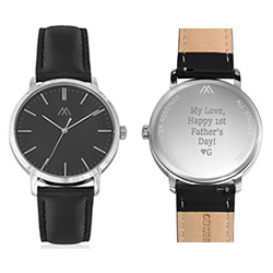 Hampton Minimalist Black Leather Band Watch for Men with Black Dial product photo