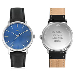 Hampton Minimalist Black Leather Band Watch for Men with Blue Dial product photo
