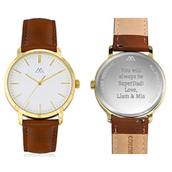 Hampton Engraved Minimalist Watch for Men with Brown Leather Strap product photo