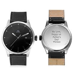 Odysseus Day Date Minimalist Leather Strap Watch product photo