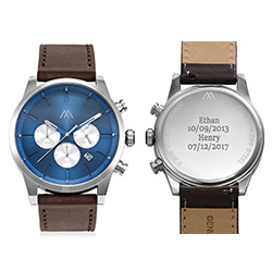 Quest Chronograph Leather Strap Watch for Men with Blue Dial product photo