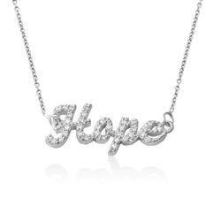 Pave Name Necklace with Cubic Zirconia in Sterling Silver product photo