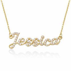Pave Diamond Name Necklace in 14k Solid Gold product photo