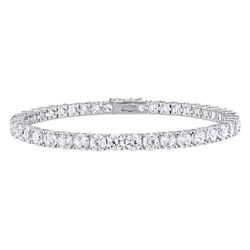 4.0mm Round Lab-Created White Sapphire Tennis Bracelet in Sterling Silver product photo